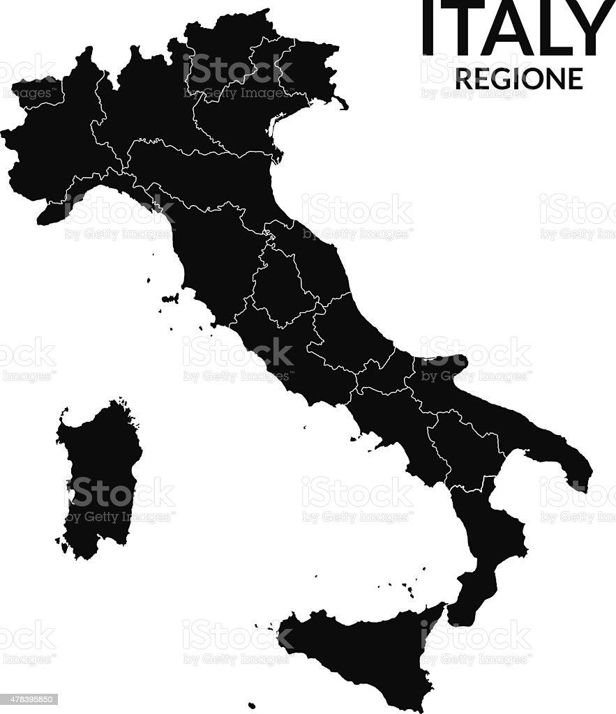 Regions map of Italy. Mappa delle regioni Italia vector art illustration