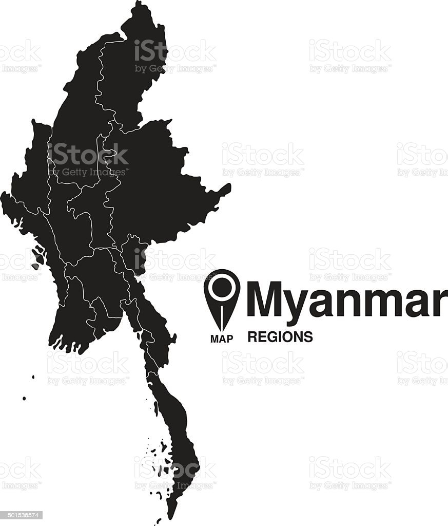 Regions map of Myanmar vector art illustration