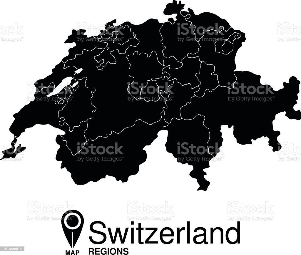 Regions map of Switzerland vector art illustration