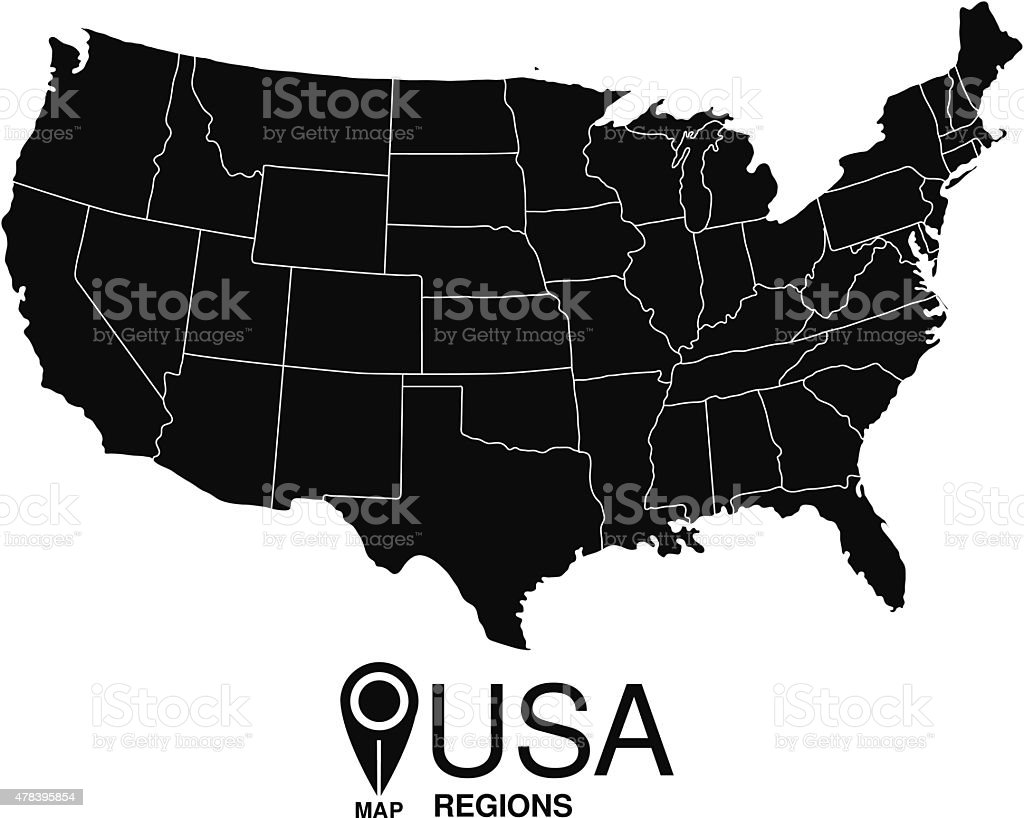 Regions map of United States of America. USA vector art illustration