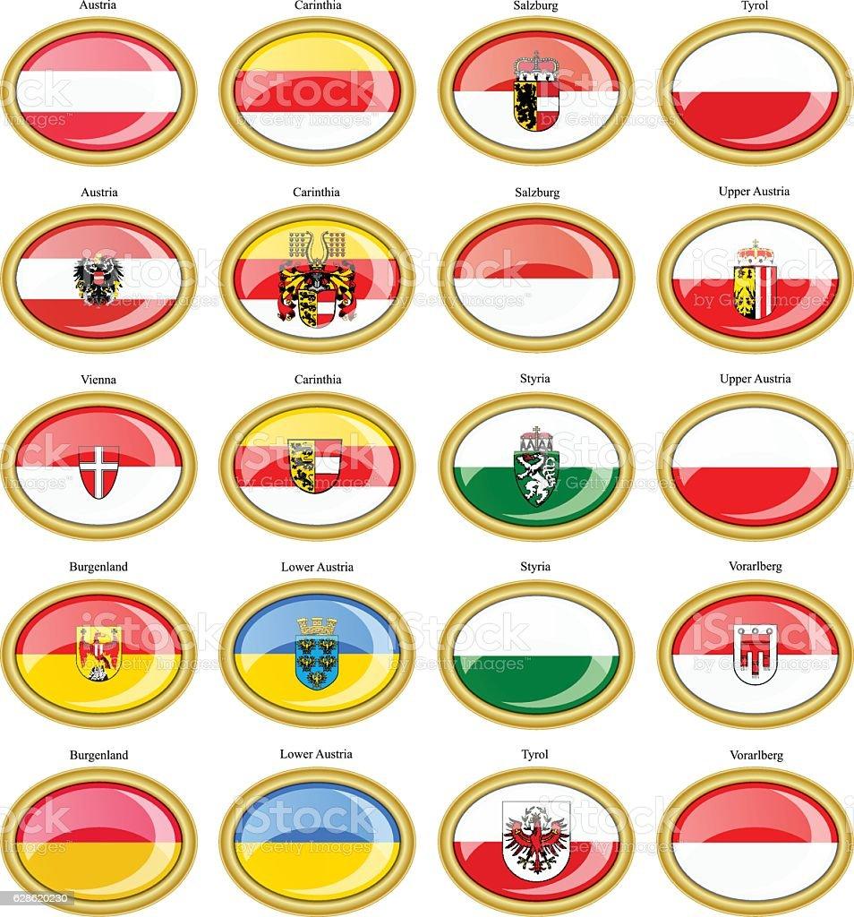 Regions of Austria flags vector art illustration