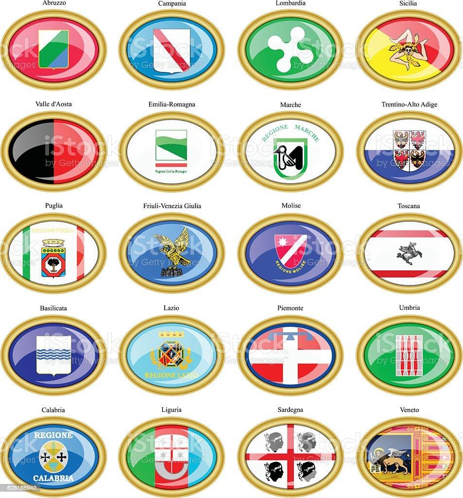 Regions of Italy flags vector art illustration