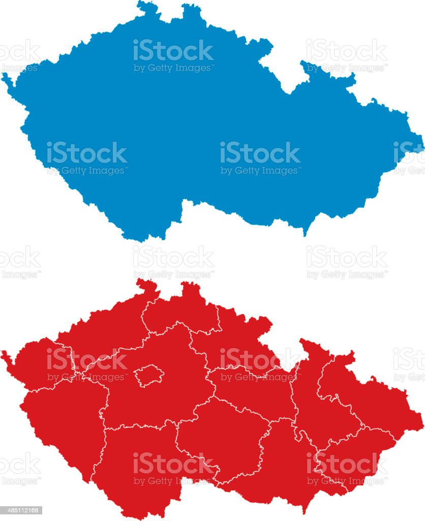 Regions of the Czech Republic vector art illustration