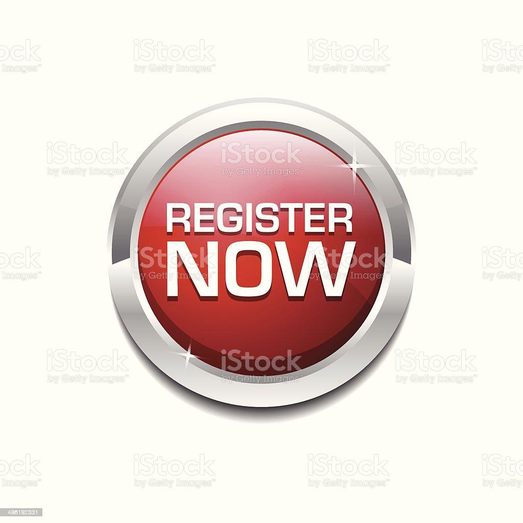 Register Now Glossy Shiny Circular Vector Button vector art illustration