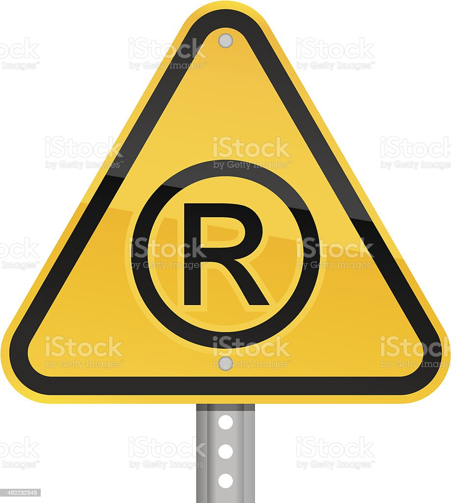 Registered pictogram warning triangle yellow road sign white background vector art illustration