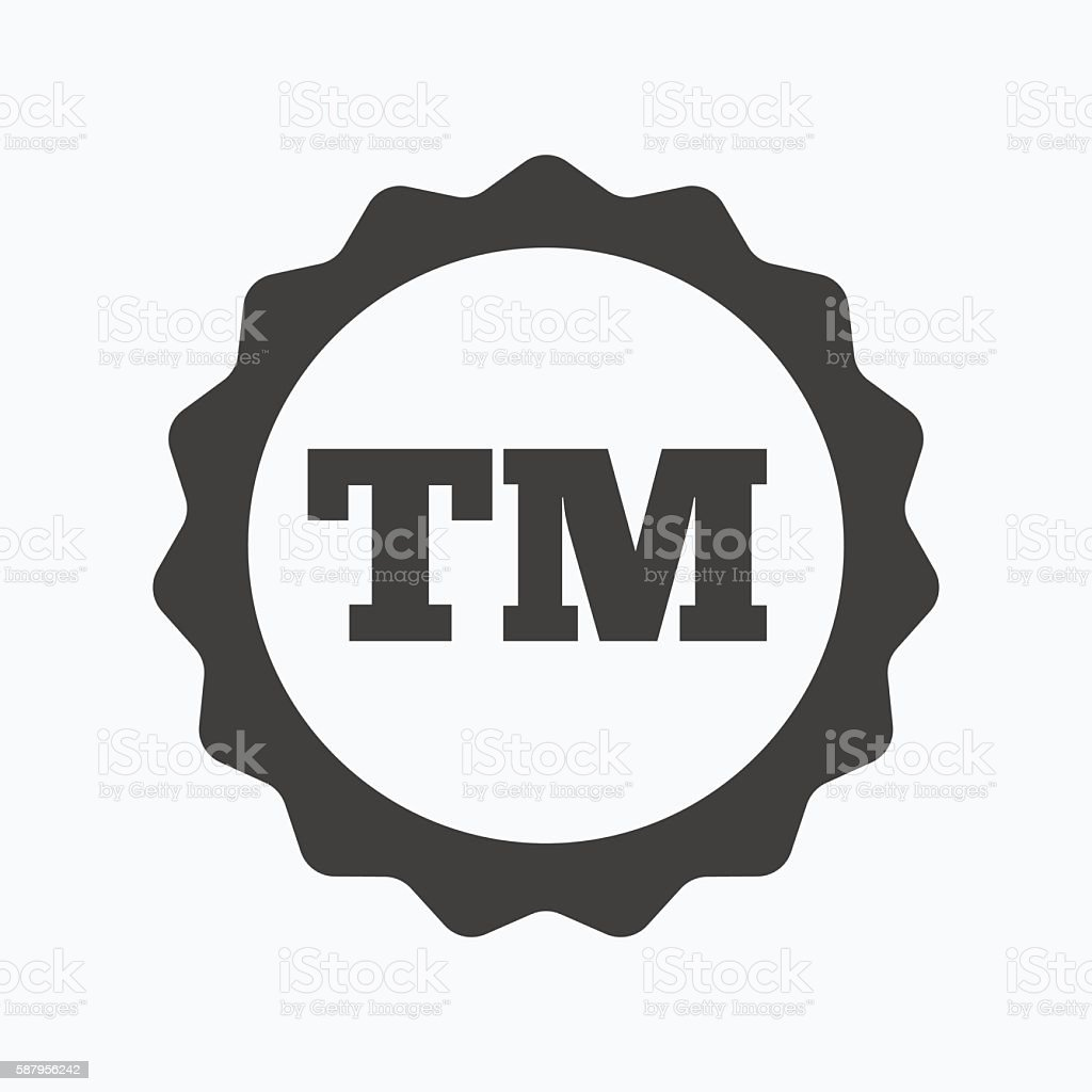Registered TM trademark icon. Intellectual work. vector art illustration