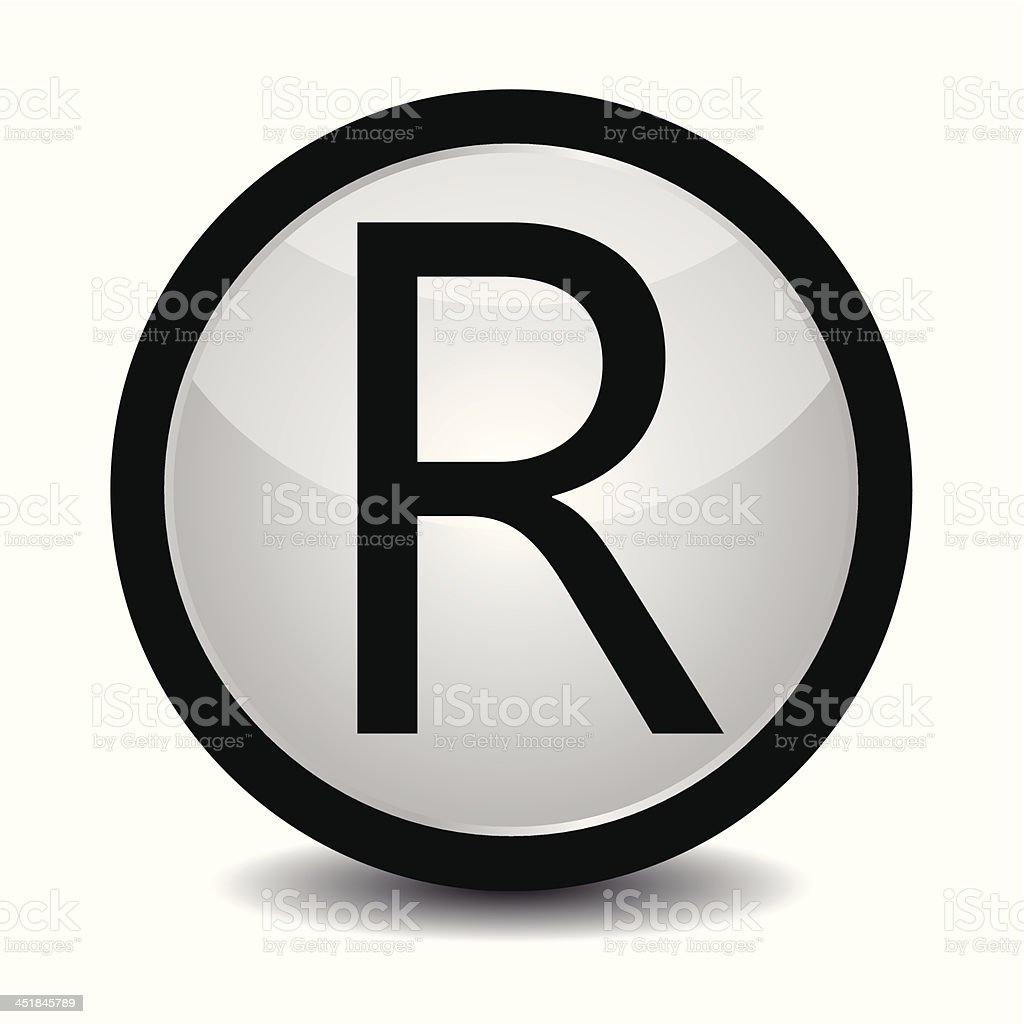 Registered trademark icon in black and white vector art illustration