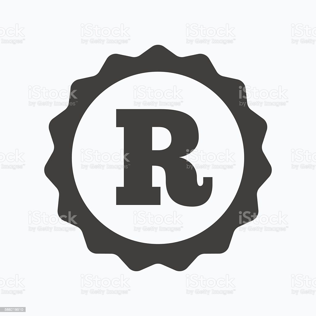 Registered trademark icon. Intellectual work. vector art illustration