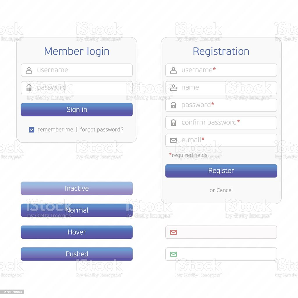 Registration form and login vector art illustration