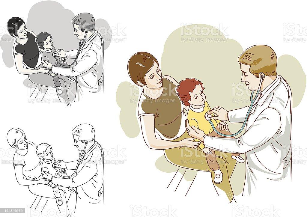 Регулярные визиты врача обеспечения здоровья Вашего ребенка Сток Вектор Стоковая фотография