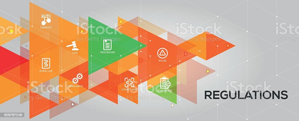 Regulations banner and icons vector art illustration