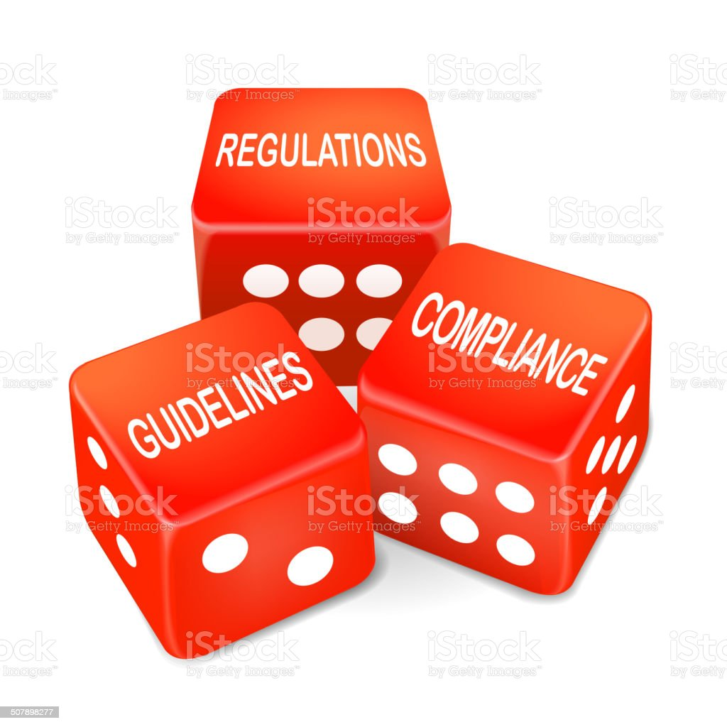 regulations, guidelines and compliance words on three red dice vector art illustration