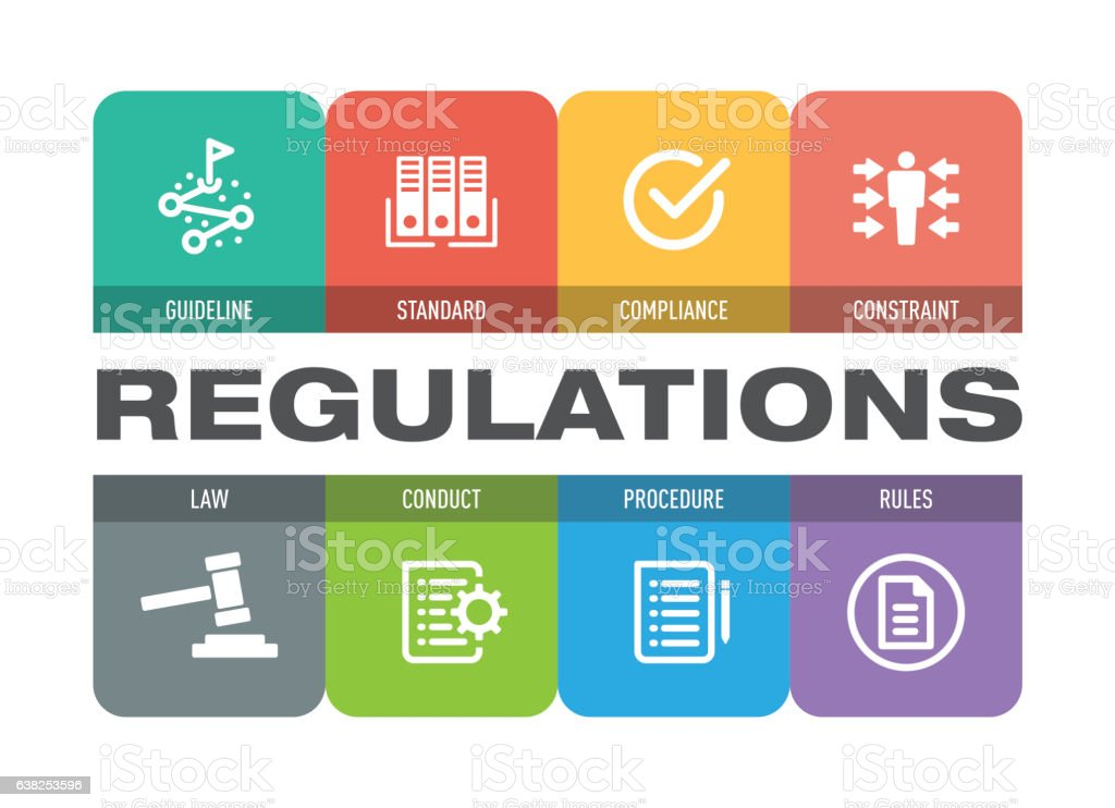 Regulations Icon Set vector art illustration