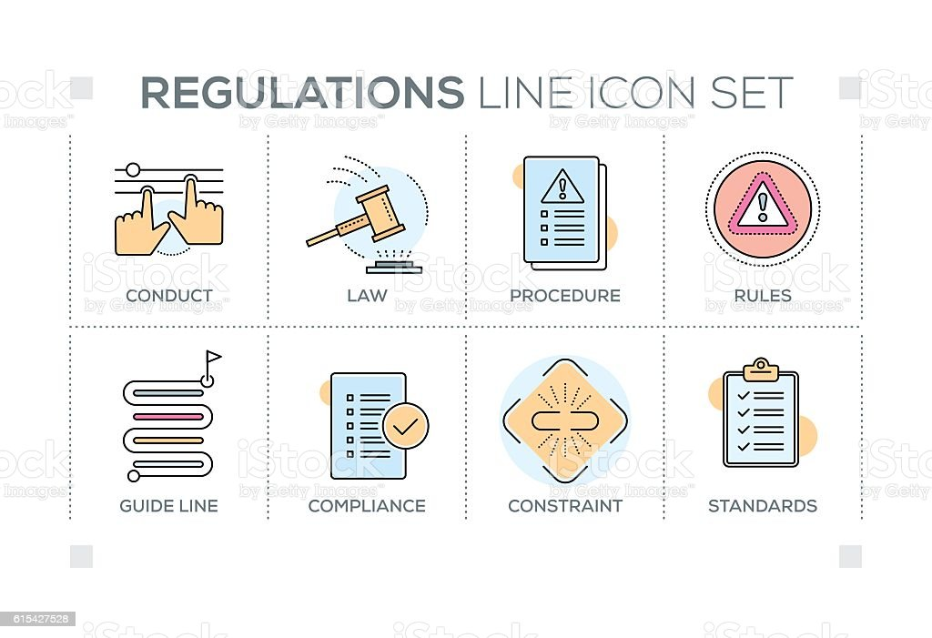 Regulations keywords with line icons vector art illustration