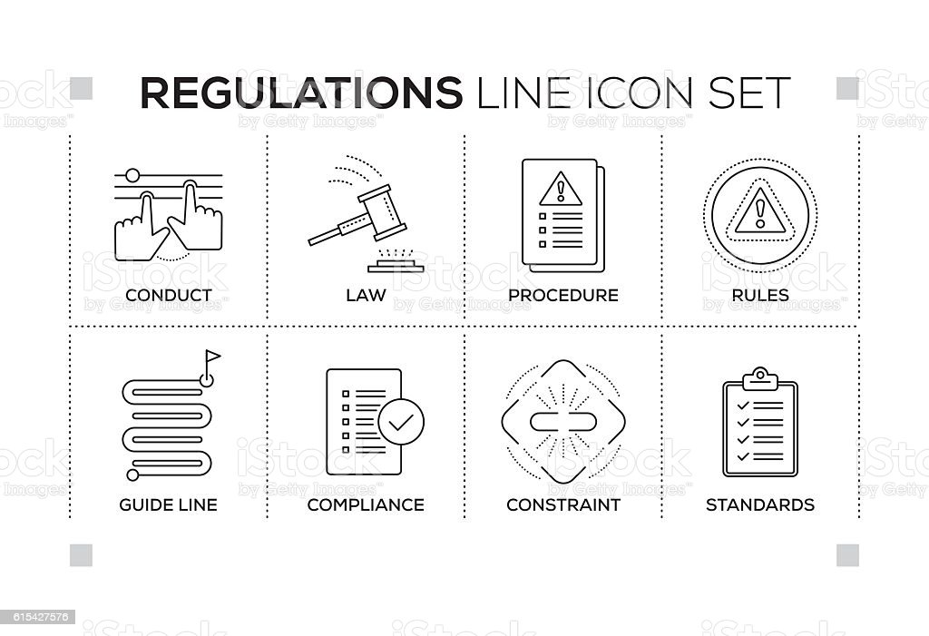 Regulations keywords with monochrome line icons vector art illustration