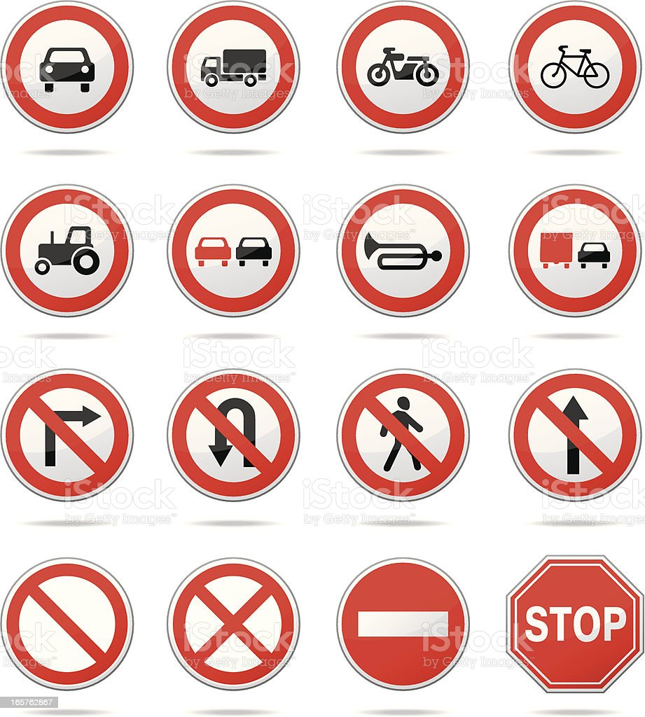 Regulatory road signs vector art illustration