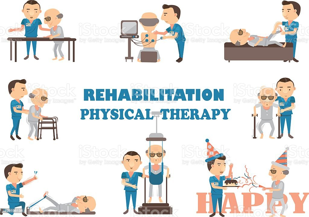 rehabilitation physical therapy vector art illustration