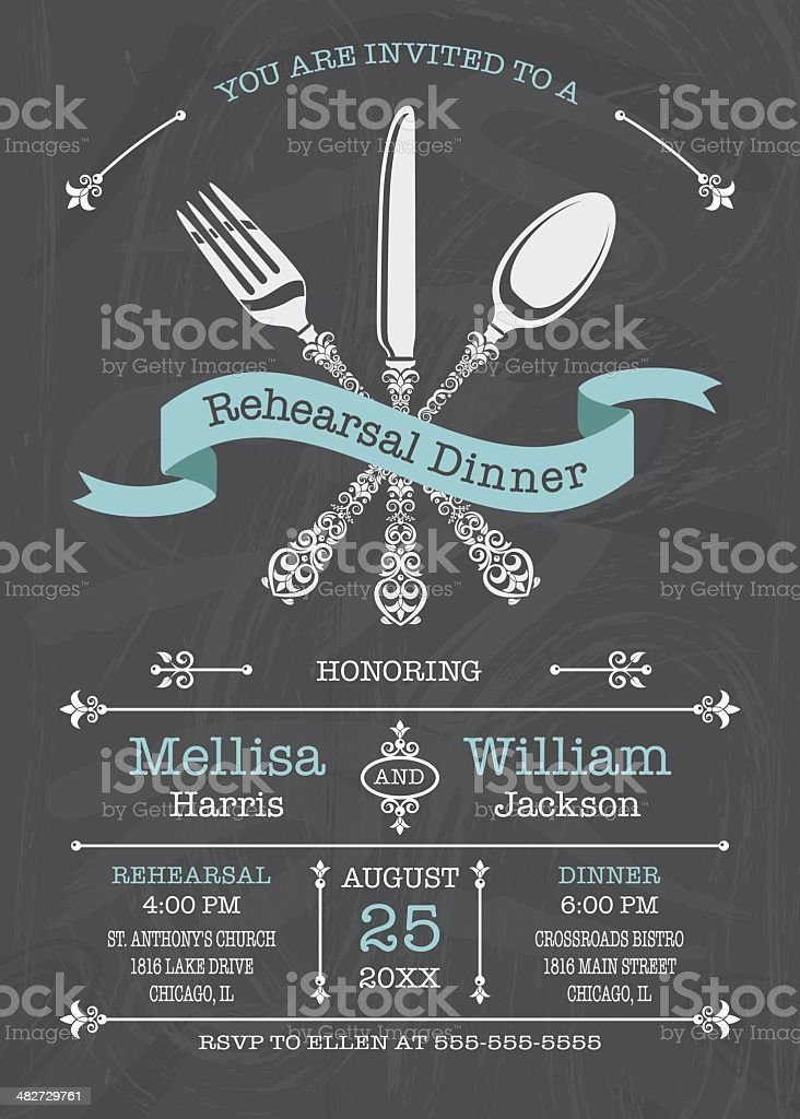 Rehearsal Dinner Invitation vector art illustration