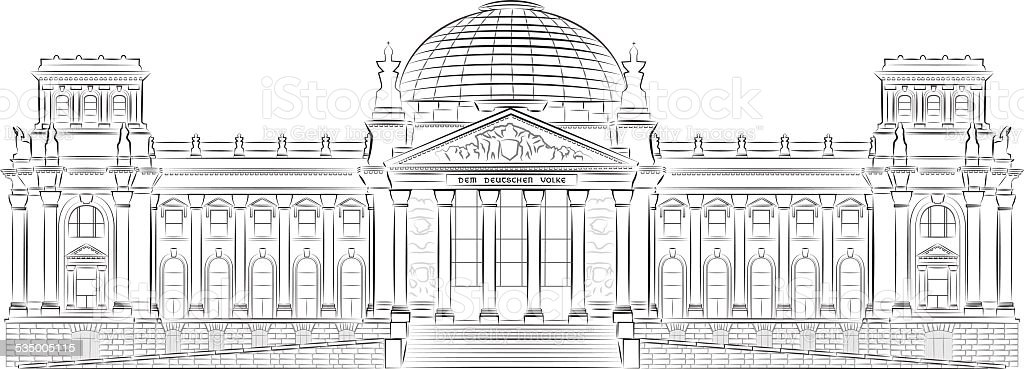 Reichstag building vector art illustration