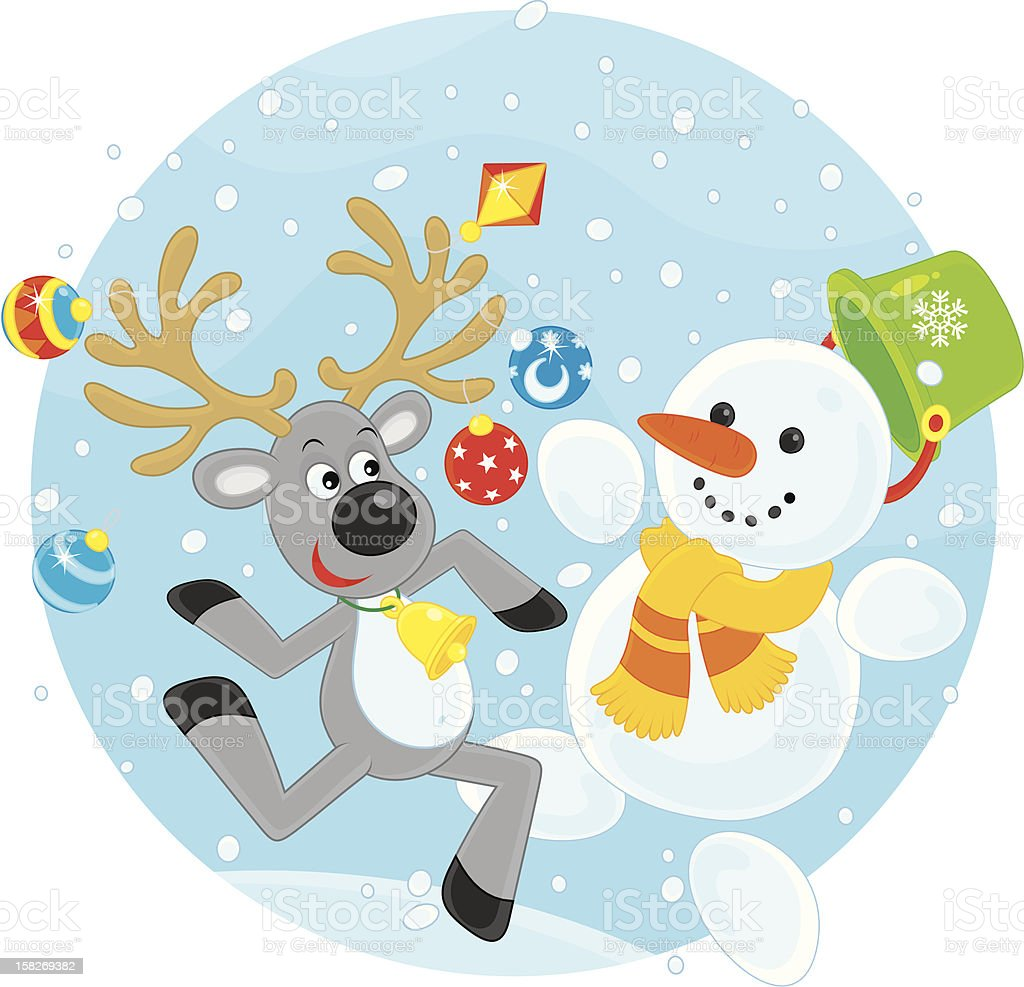 Reindeer and Snowman dancing royalty-free stock vector art