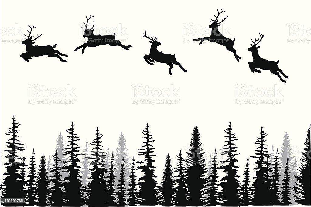 Reindeer Dance Vector Silhouette vector art illustration