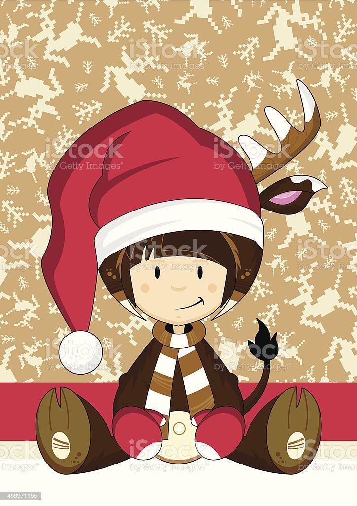 Reindeer Girl in Santa Hat royalty-free stock vector art
