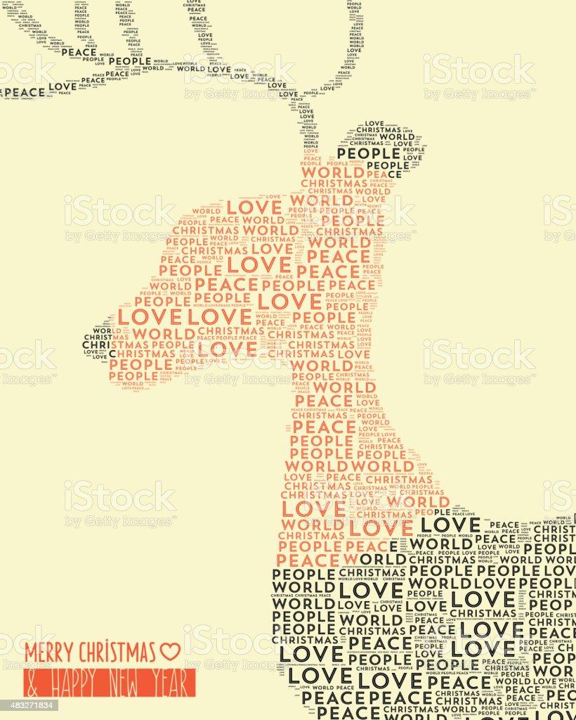 reindeer head made of words stock photo
