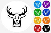 Reindeer Icon on Flat Color Circle Buttons