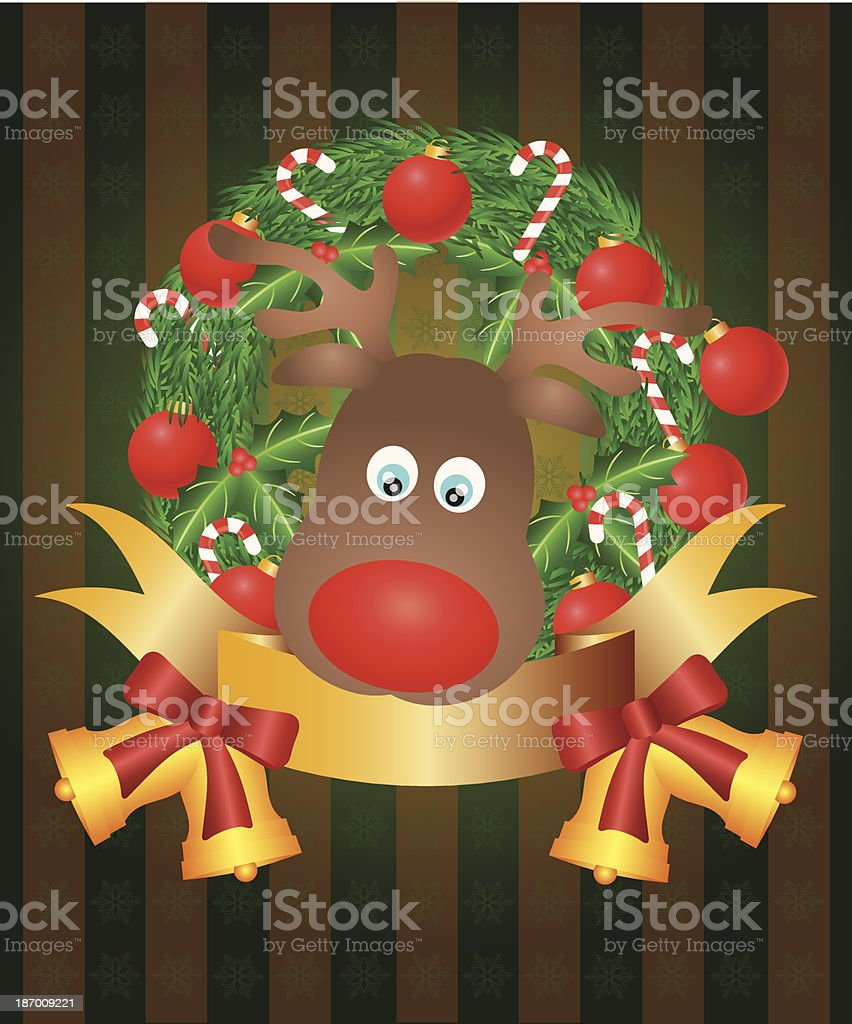 Reindeer in Christmas Wreath Vector Illustration royalty-free stock vector art
