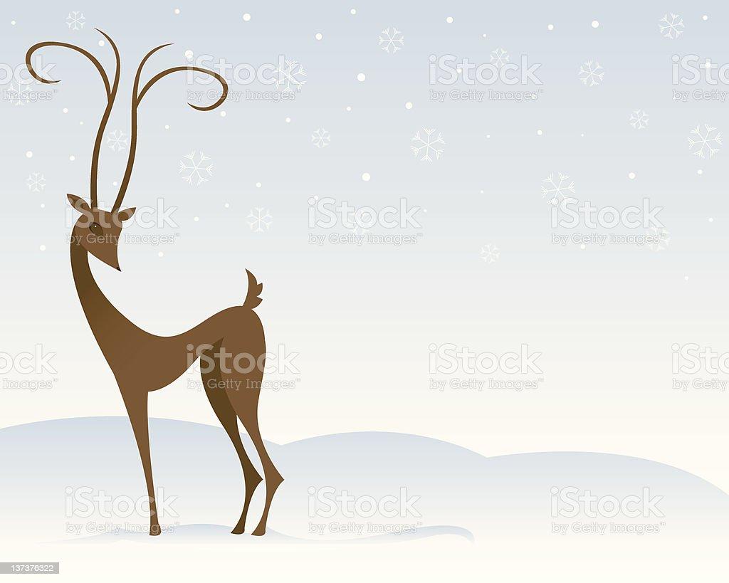 Reindeer In The Snow royalty-free stock vector art