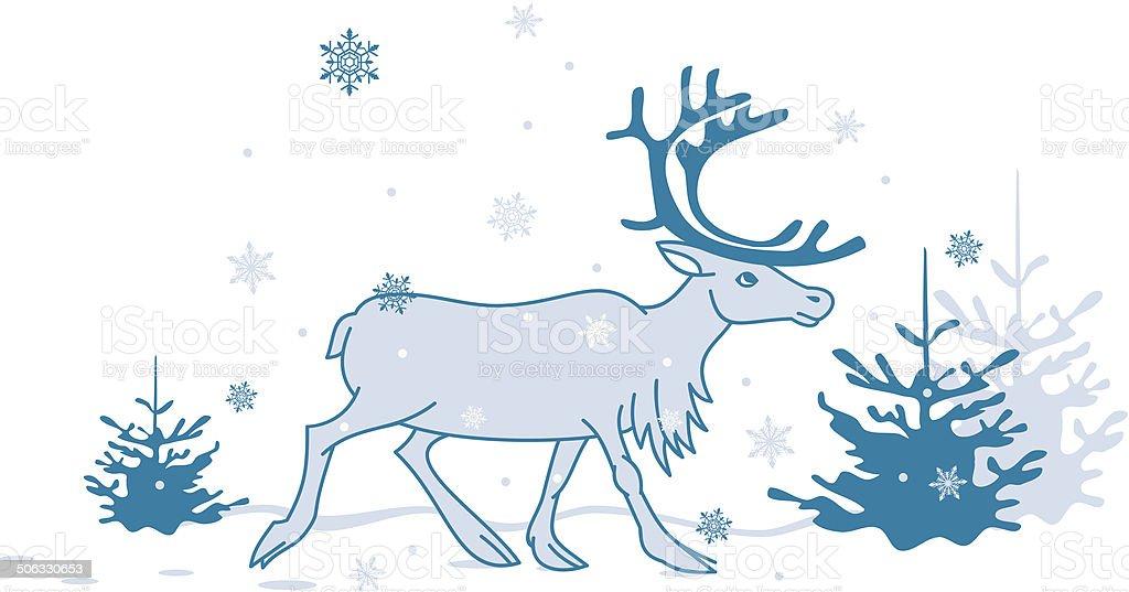 reindeer is walking royalty-free stock vector art