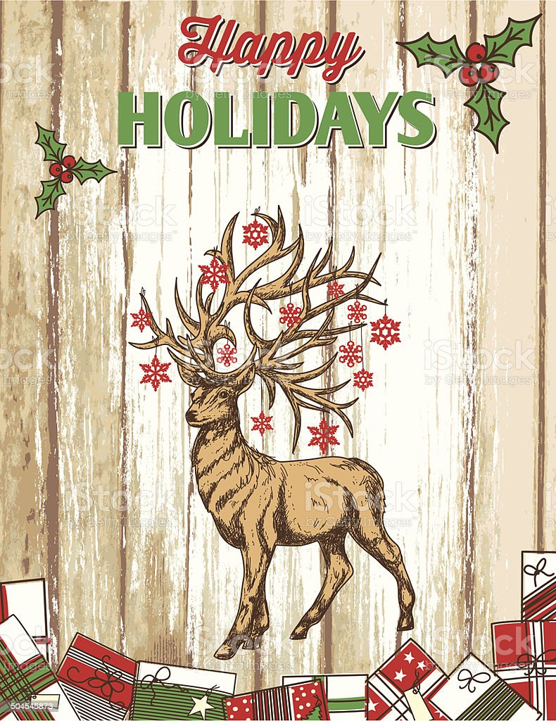 Reindeer Painted Wood Holiday Sign royalty-free stock vector art