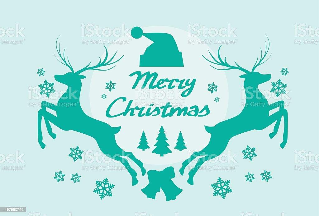 Reindeer Silhouette Mery Christmas Poster vector art illustration