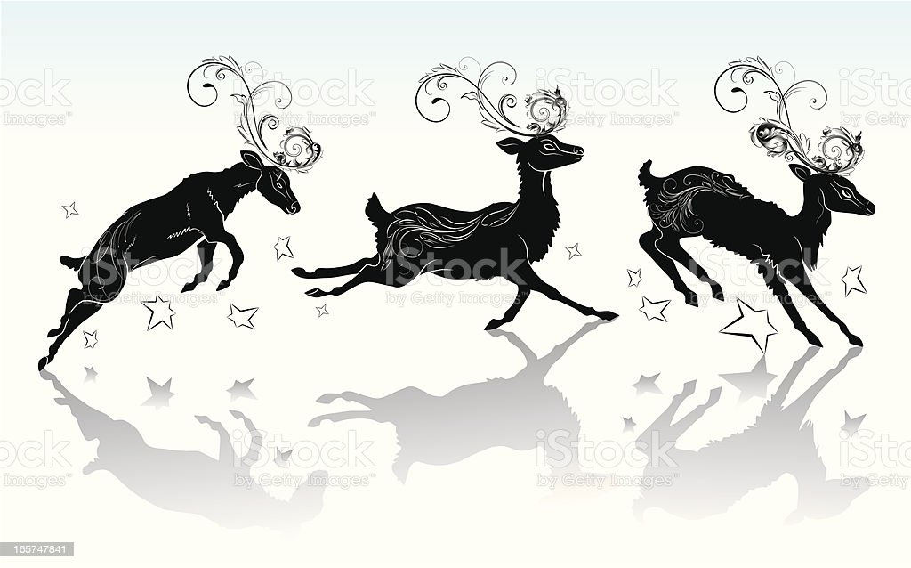 Reindeer silhouette with the ornament. royalty-free stock vector art