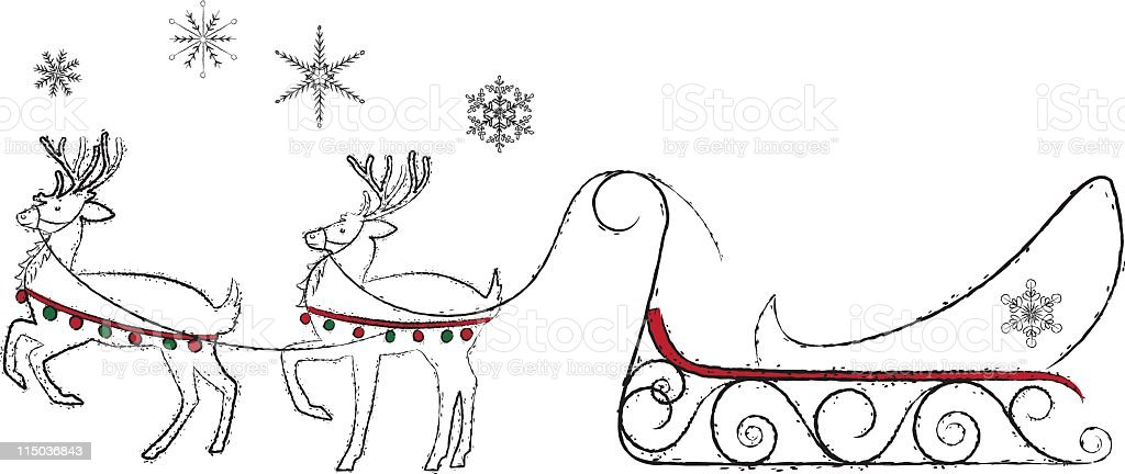 Reindeer & Sleigh royalty-free stock vector art