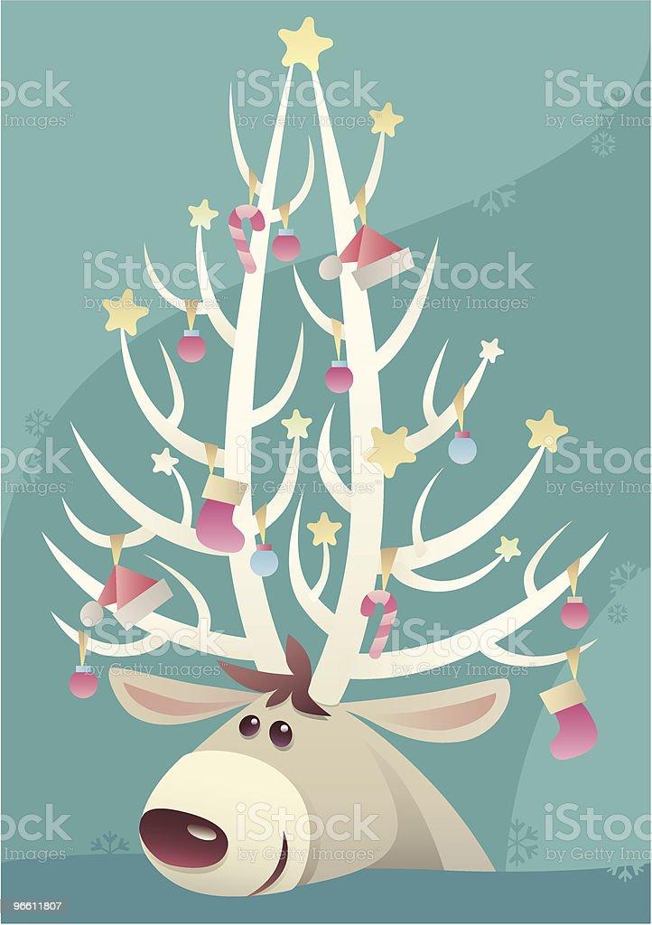 reindeer's christmas tree vector art illustration