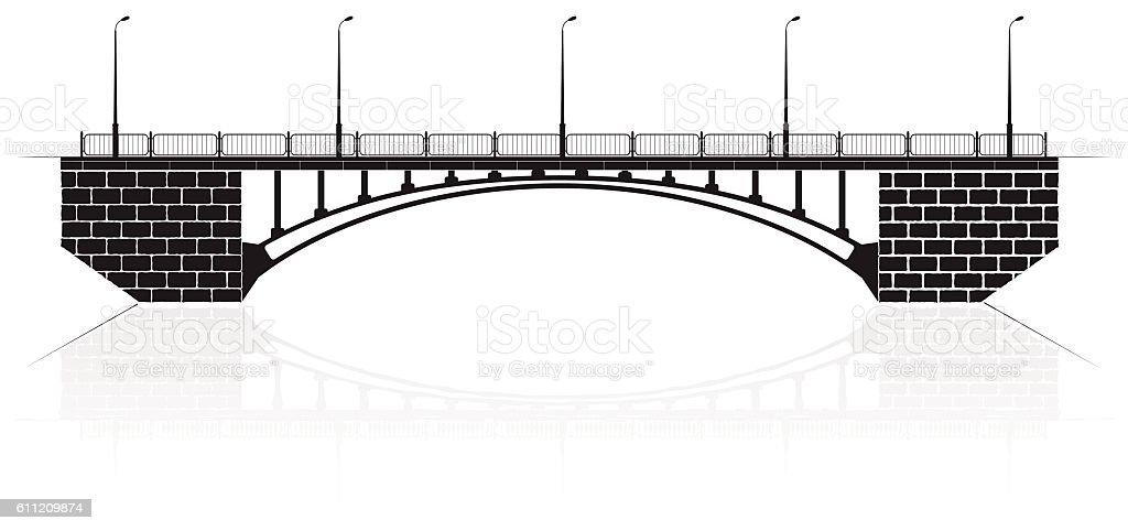 Reinforced concrete arch bridge in Kiev for cars and pedestrians. vector art illustration