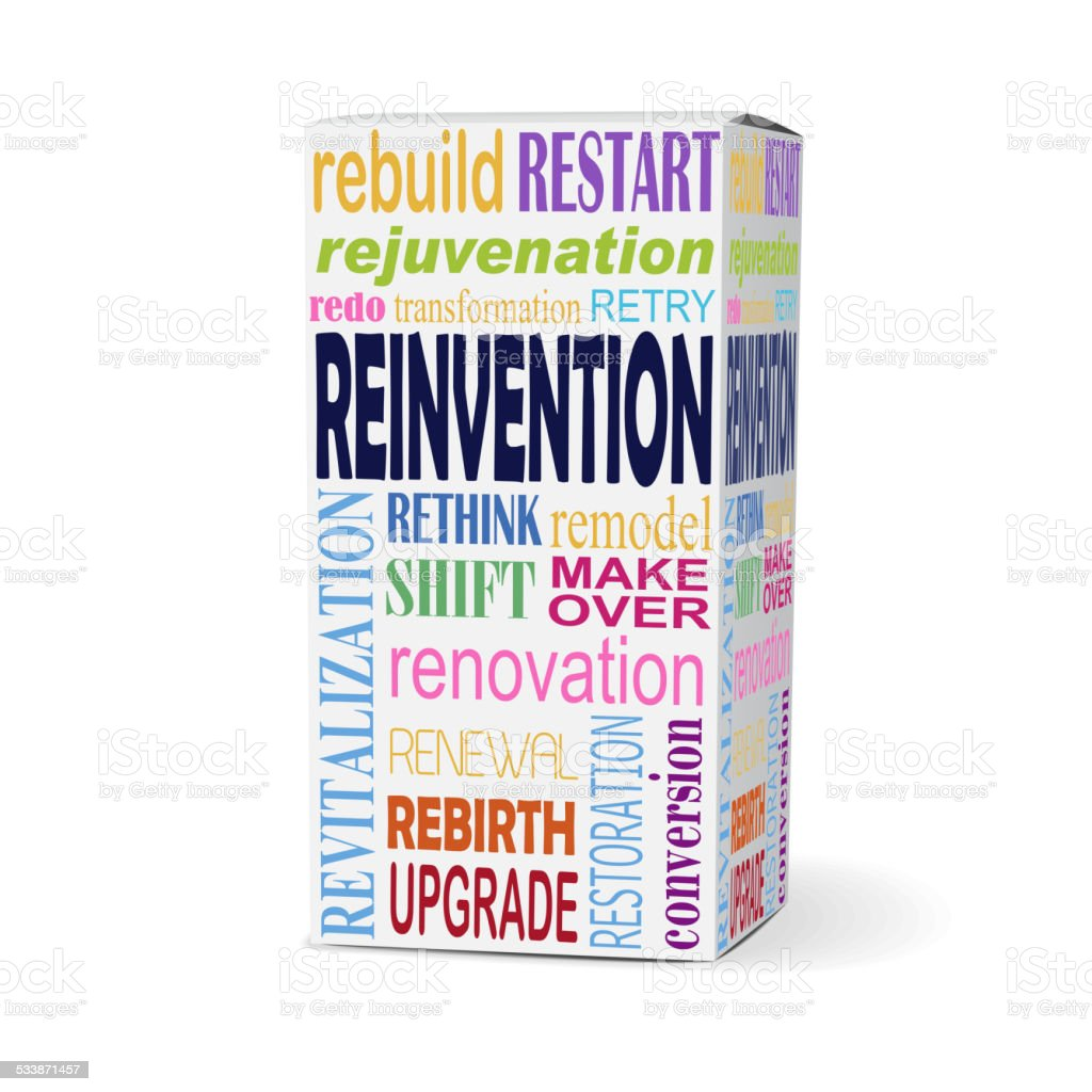 reinvention word on product box vector art illustration