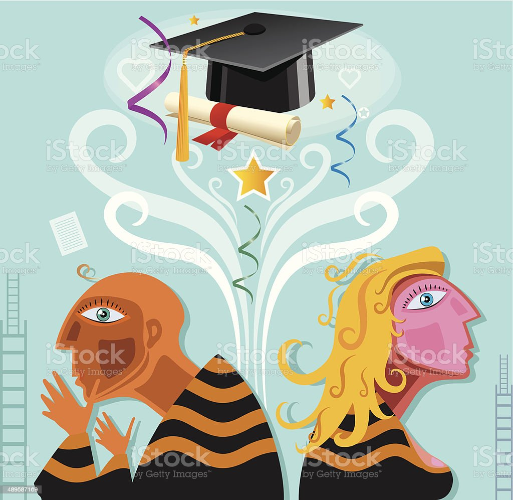 Relationships and Graduation problems royalty-free stock vector art