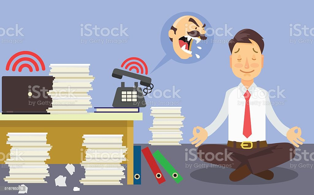 Relax at work. Vector flat cartoon illustration vector art illustration