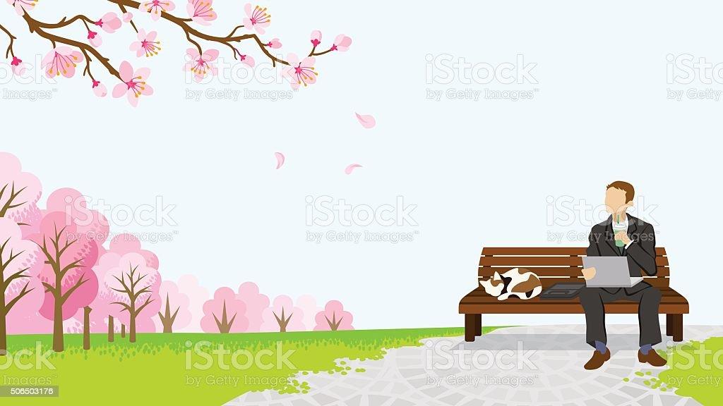 Relax Businessman among the cherry trees -EPS10 vector art illustration