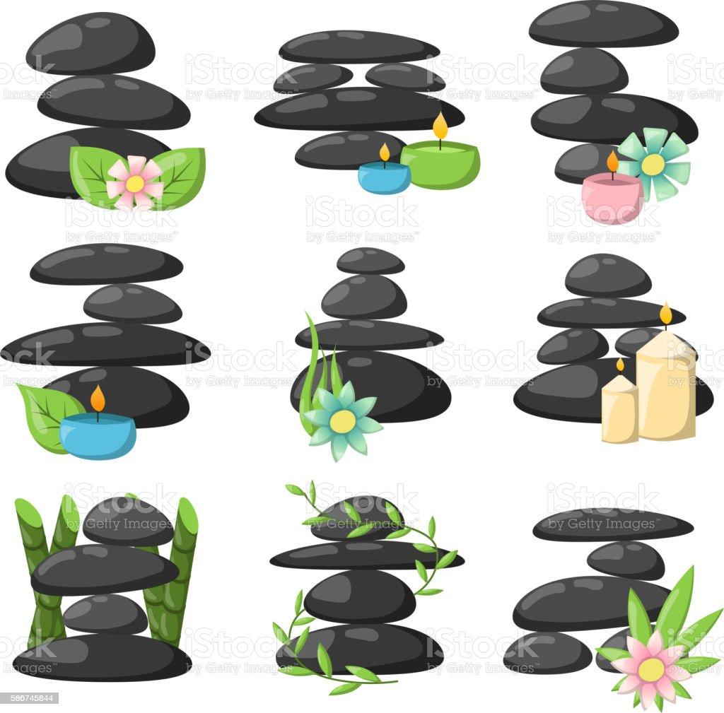 Relax spa stones vector set. vector art illustration