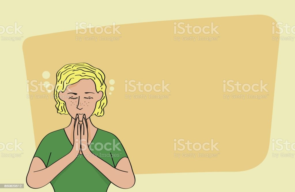 Relaxed caucasian blond woman meditating isolated on yellow background vector art illustration