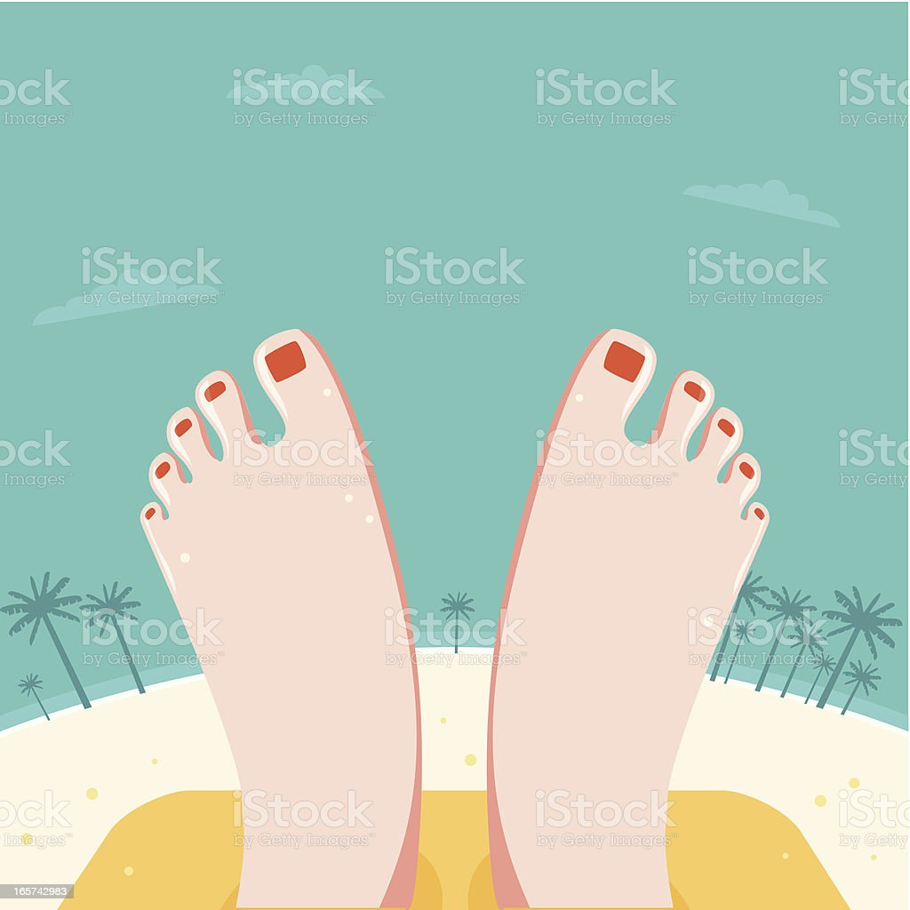 Relaxed Feet at a beach vector art illustration