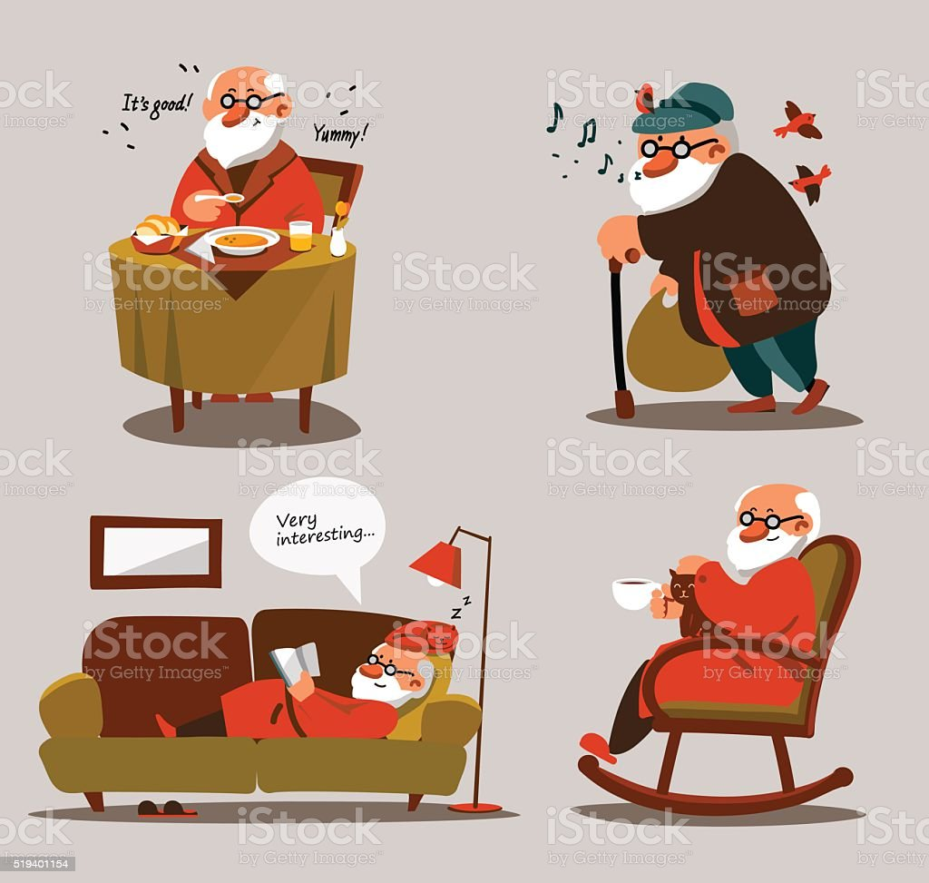 Relaxed old man with white beard in various situations vector art illustration