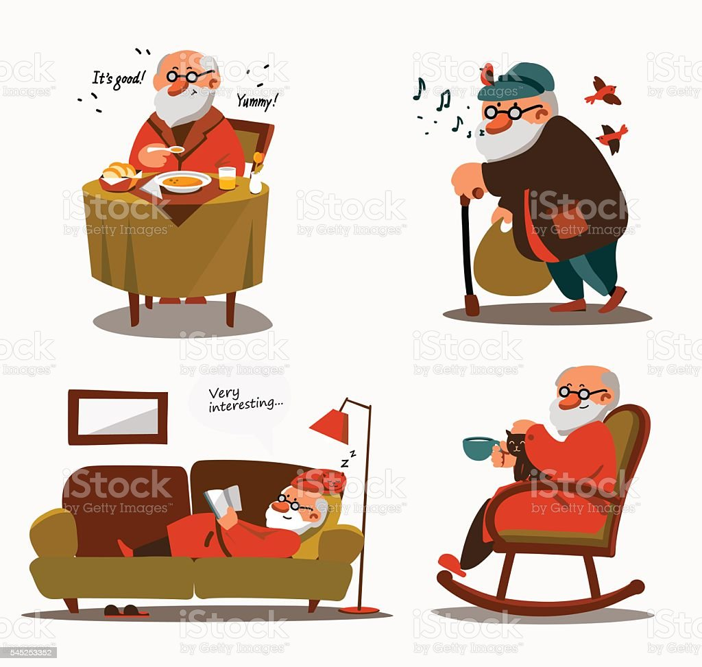 Relaxed senior expressing positivity and satisfaction vector art illustration