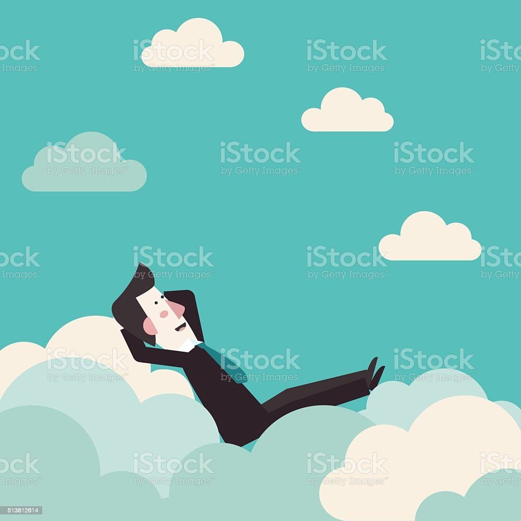 Relaxed, successful happy business man relaxing on clouds concept design vector art illustration