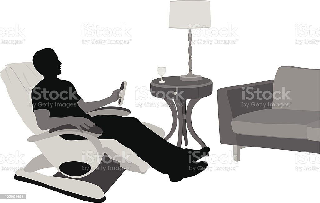 Relaxing At Home Vector Silhouette royalty-free stock vector art