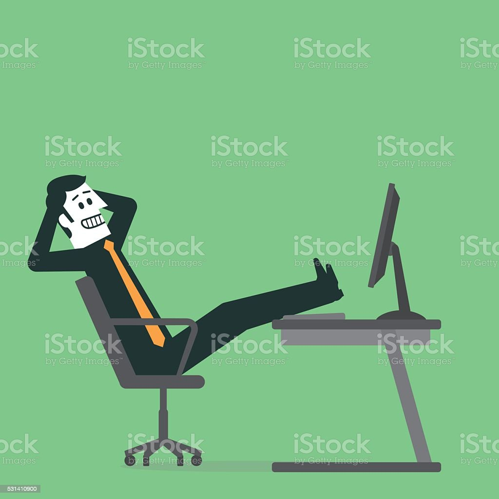 Relaxing businessman vector art illustration