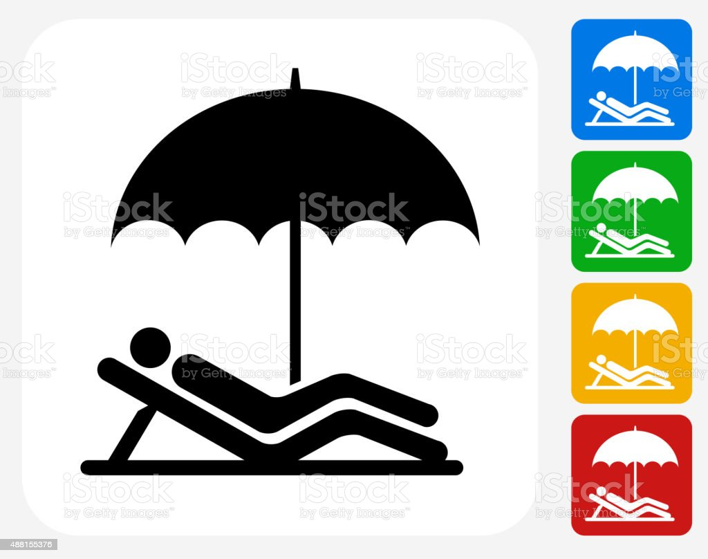 Relaxing Icon Flat Graphic Design vector art illustration